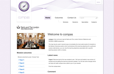 Screenshot of the Barts and The London School of Medicine and Dentistry - COMPAS website