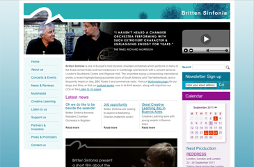 Screenshot of the Britten Sinfonia website