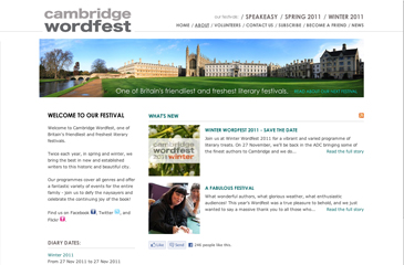 Screenshot of the Cambridge Wordfest website