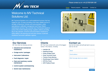 Screenshot of the MV Technical Solutions Ltd website
