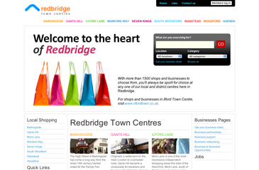 Screenshot of the London Borough of Redbridge Shopping and Storefinder website
