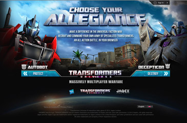 Screenshot of the Transformers Universe website